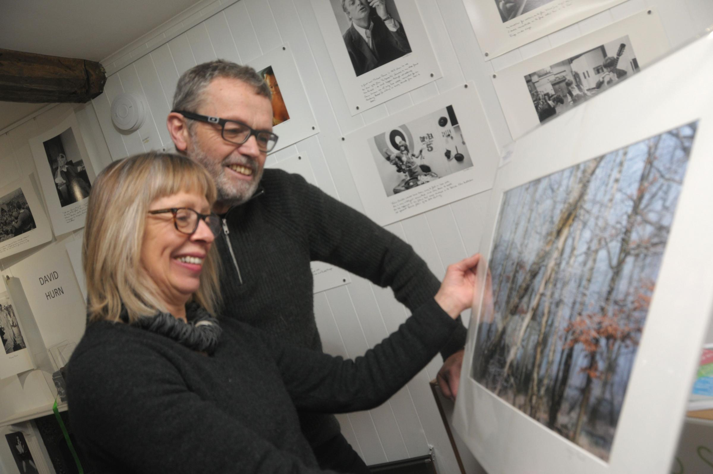 Admiring an image by Claire Carter while looking around the '1960's' exhibition at the Photospace Gallery are Mary and Hugh Elliott.
