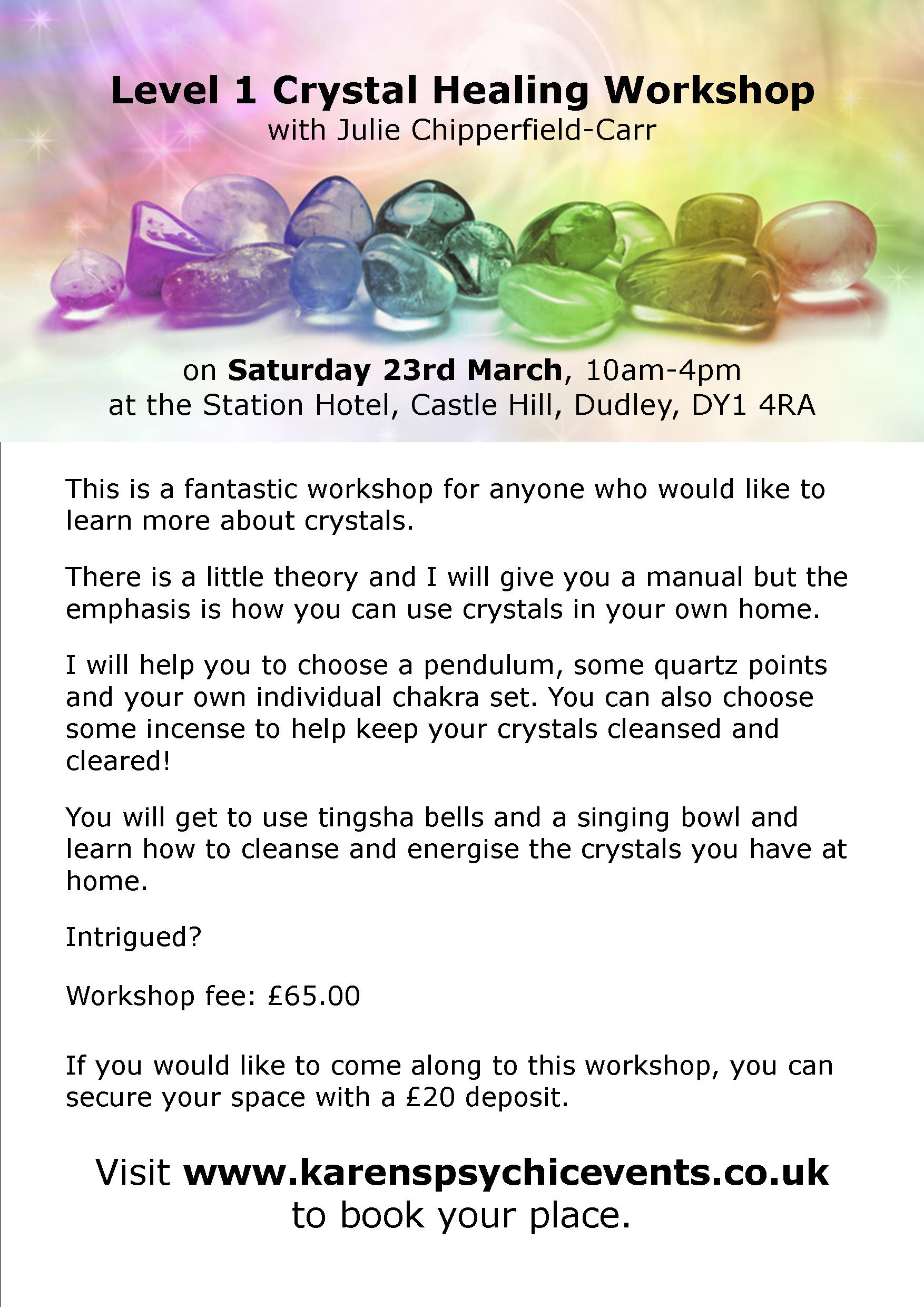 Level 1 Crystal Healing Workshop on 23rd March