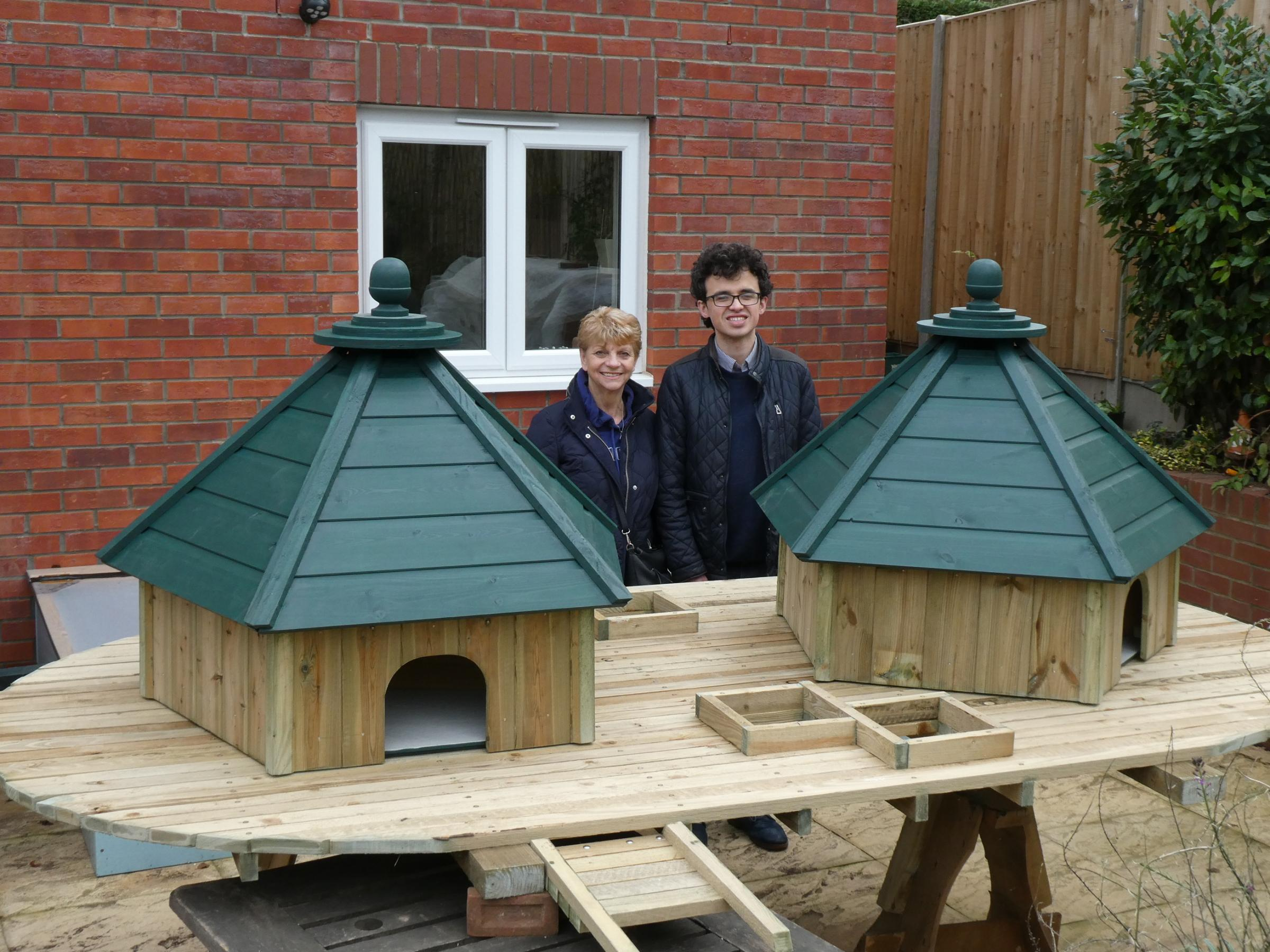 Cllr Mrs Christine Howley and Cllr Eli Heathfield with the duck platform