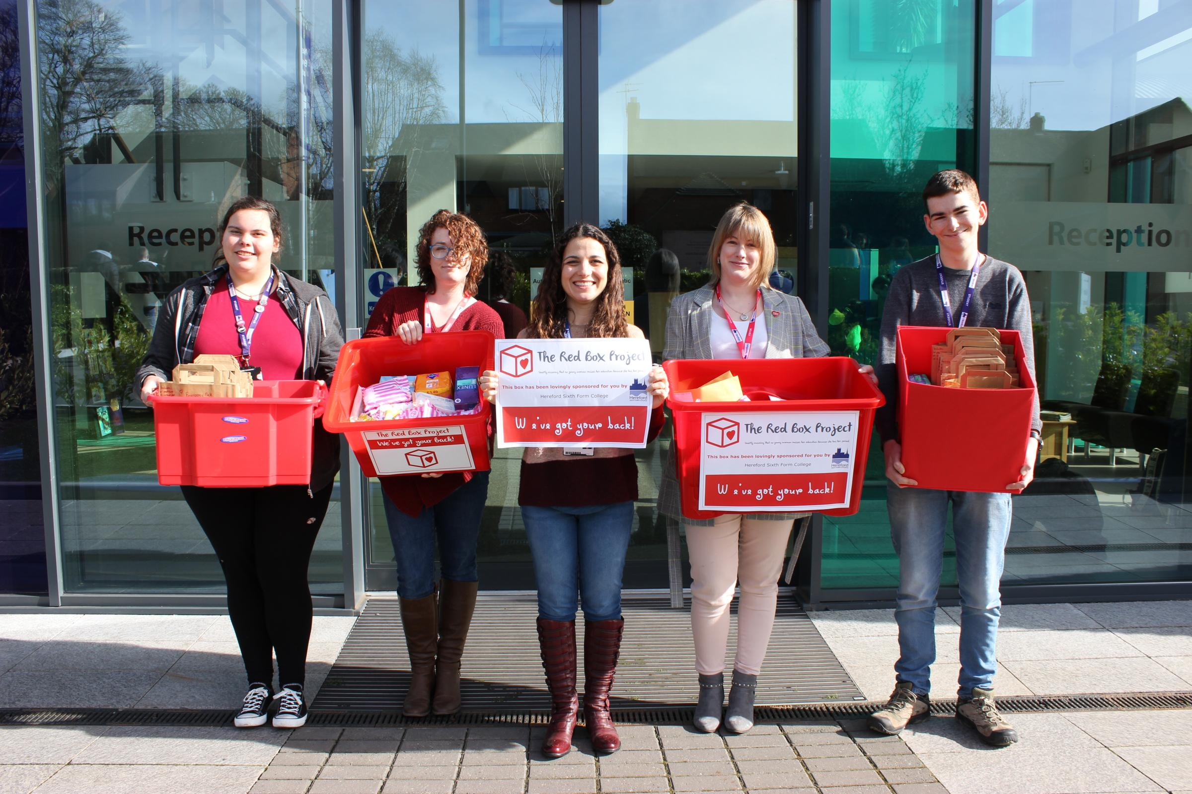 Photo credit: Ed Kowal, Multi Media Producer, Hereford Sixth Form CollegePictured L-R: Phoebe Spencer (student), Sam Marsh (Red Box Project Hereford), Lana Silk, (College Chaplain), Claire Russell (Red Box Project Hereford), and Ed Ceney (student)