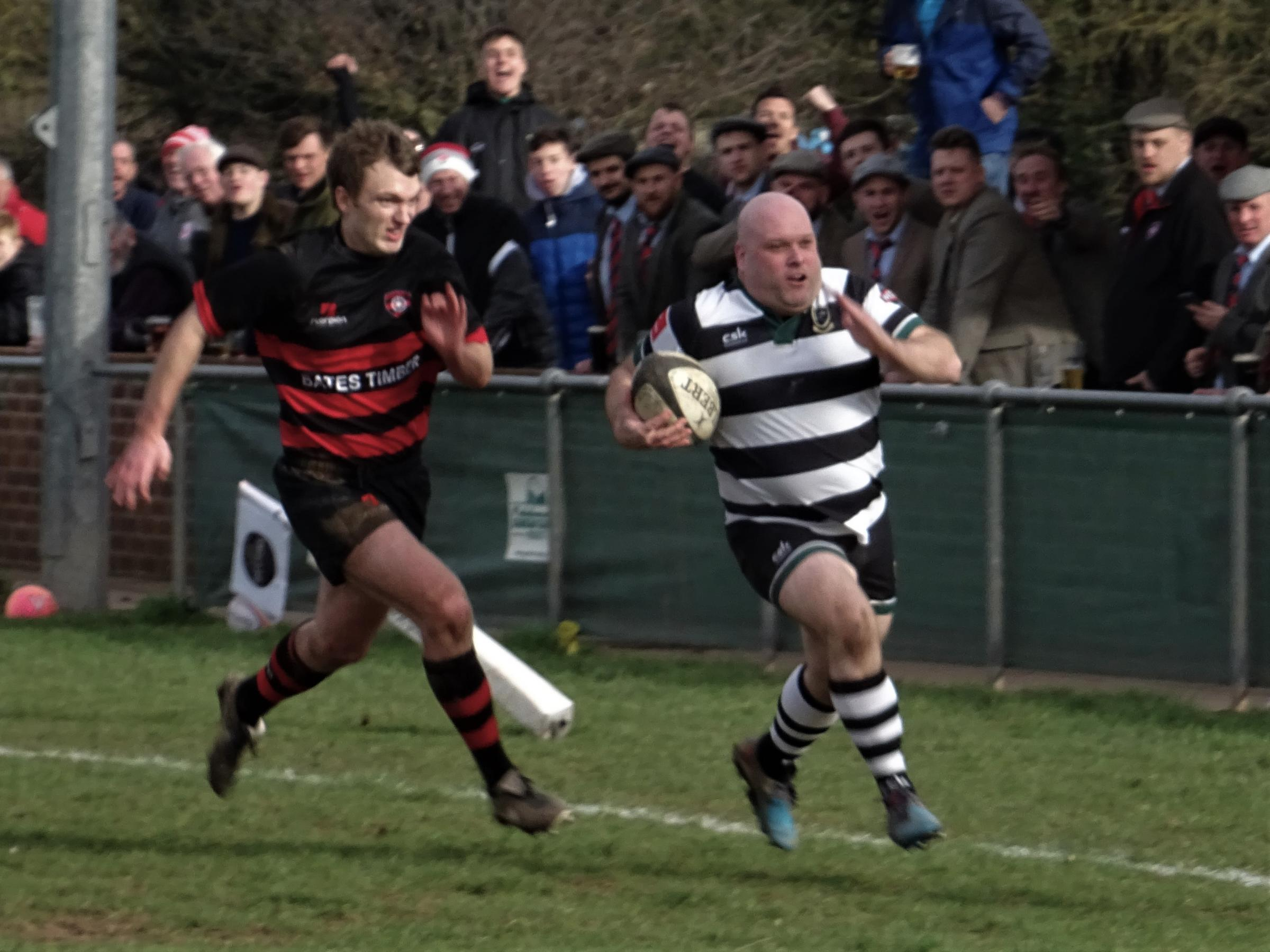 Chris Stokes on the way to scoring a Ledbury try but his afternoon was cut short by a bad injury. Picture: JACKIE HUMPHREYS