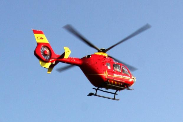 A man was airlifted to hospital in a serious condition after an industrial incident in Hereford.