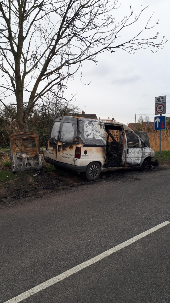 WRECK: One of the firebombed vehicles. Photo: West Mercia Police