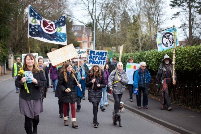 PROTEST: Protestors at the Extinction Rebellion event in Malvern. Pic. Sharon White