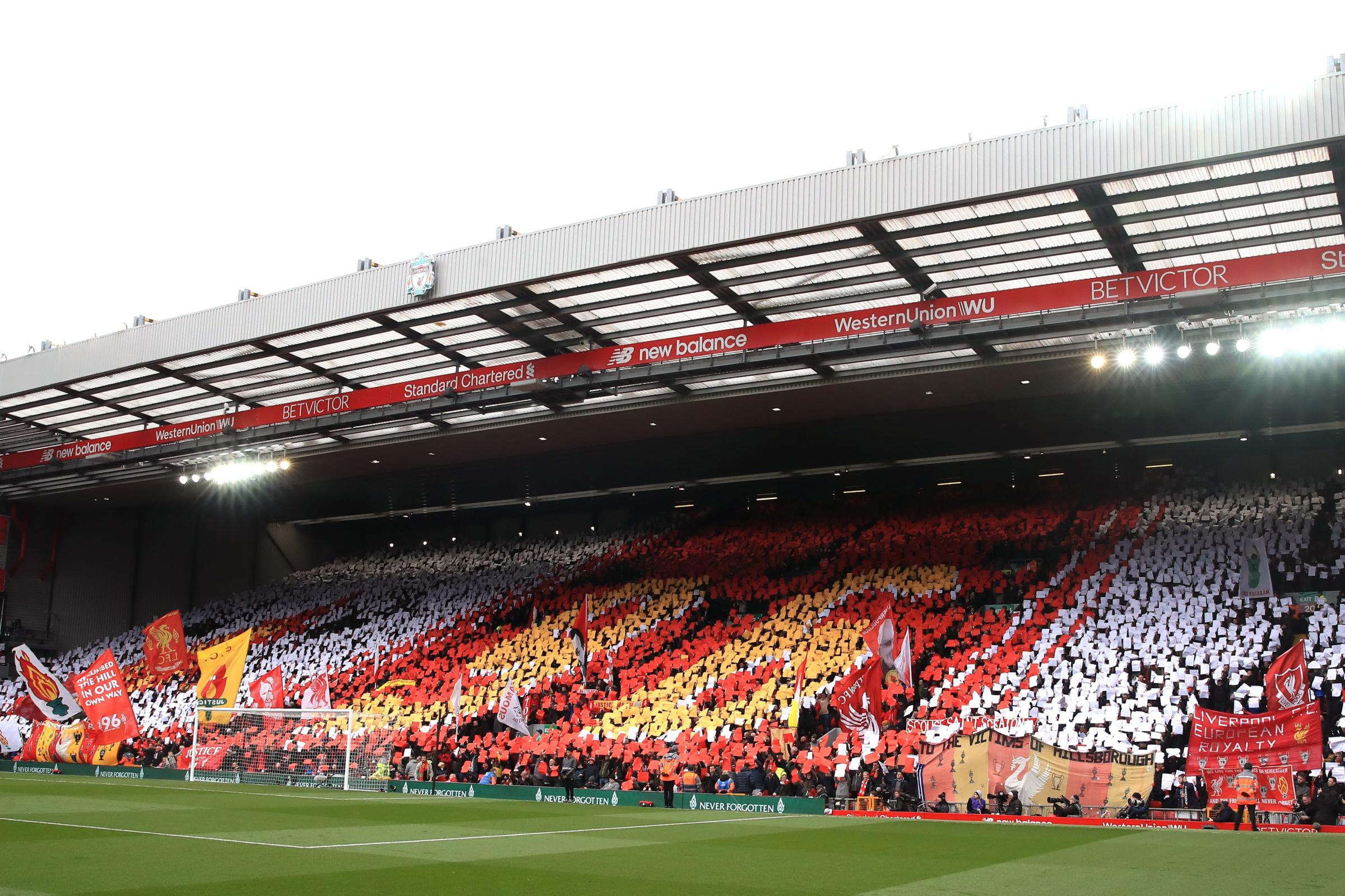 Fans at Anfield commemorate the 30th anniversary of the Hillsborough disaster, where 96 people lost their lives