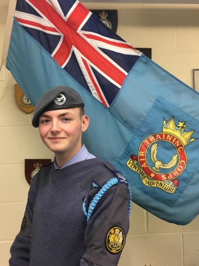 Air Cadet Ben Jenkins has been awarded the coveted blue lanyard. Photo by 151 Leominster Squadron ATC