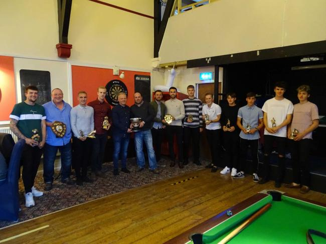 Ledbury Town's players and staff show off their awards. Picture: CHRIS PONTER